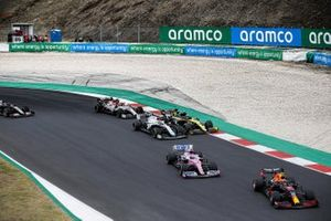 Alex Albon, Red Bull Racing RB16, Lance Stroll, Racing Point RP20, Esteban Ocon, Renault F1 Team R.S.20, George Russell, Williams FW43, Antonio Giovinazzi, Alfa Romeo Racing C39, and Romain Grosjean, Haas VF-20