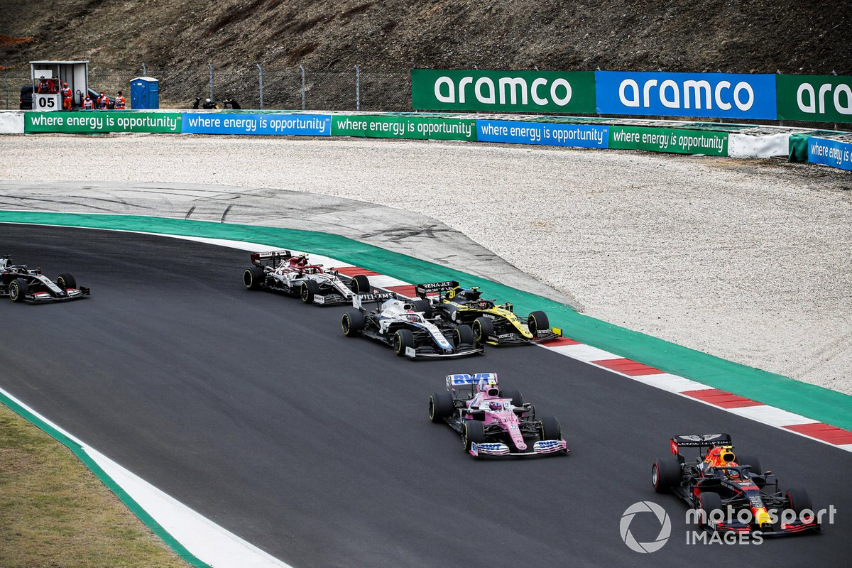Alex Albon, Red Bull Racing RB16, Lance Stroll, Racing Point RP20, Esteban Ocon, Renault F1 Team R.S.20, George Russell, Williams FW43, Antonio Giovinazzi, Alfa Romeo Racing C39, Romain Grosjean, Haas VF-20