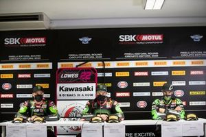 Alex Lowes, Kawasaki Racing Team, Jonathan Rea, Kawasaki Racing Team, Xavi Fores, Kawasaki Puccetti Racing