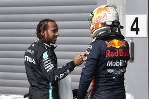 Pole man Lewis Hamilton, Mercedes-AMG Petronas F1, and Max Verstappen, Red Bull Racing, congratulate each other in Parc Ferme