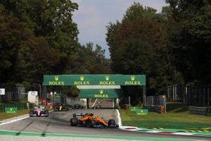 Lando Norris, McLaren MCL35, Sergio Perez, Racing Point RP20, and Daniel Ricciardo, Renault F1 Team R.S.20
