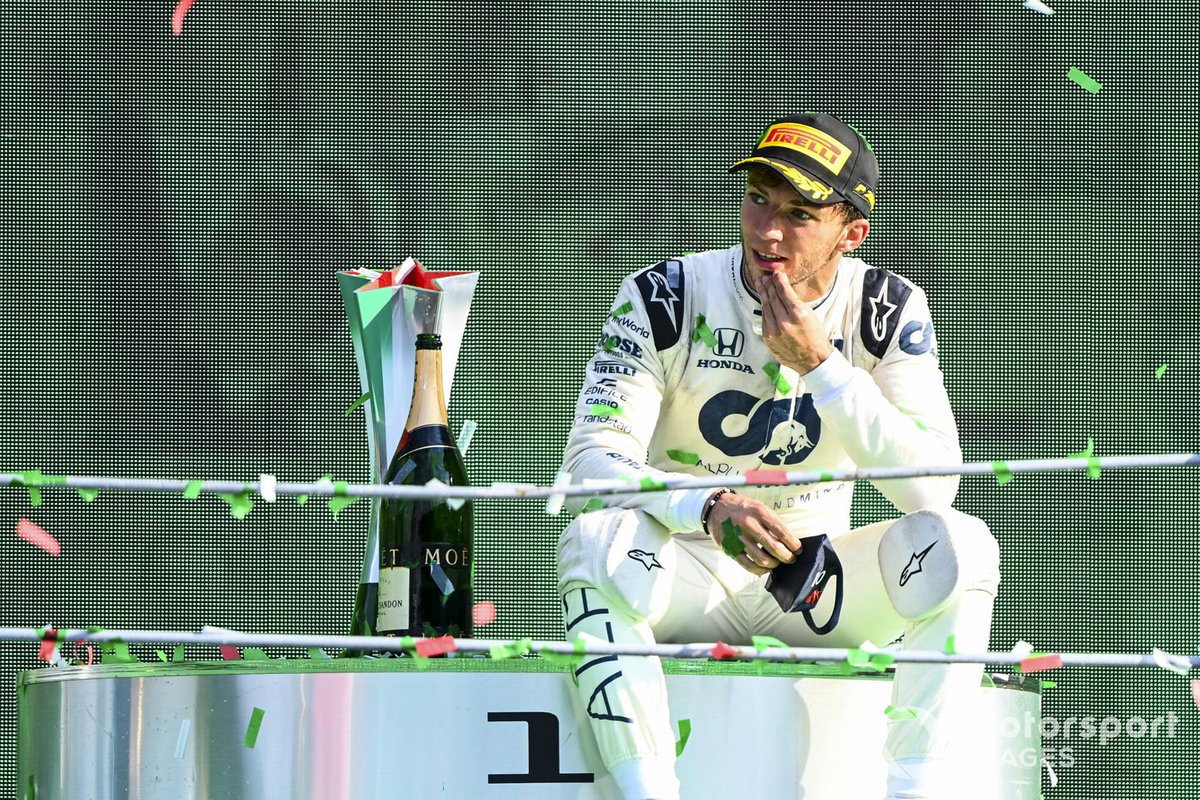 Pierre Gasly, AlphaTauri, 1st position, sits down on the podium