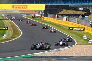 Nikita Mazepin, Hitech Grand Prix, leads Louis Deletraz, Charouz Racing System, and Luca Ghiotto, Hitech Grand Prix