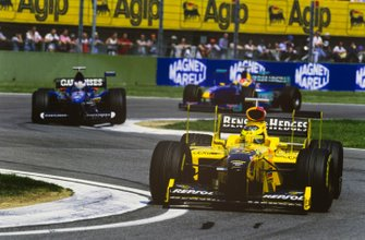 Ralf Schumacher, Jordan 198 Mugen-Honda, Jarno Trulli, Prost AP01 Peugeot, and Johnny Herbert, Sauber C17 Petronas