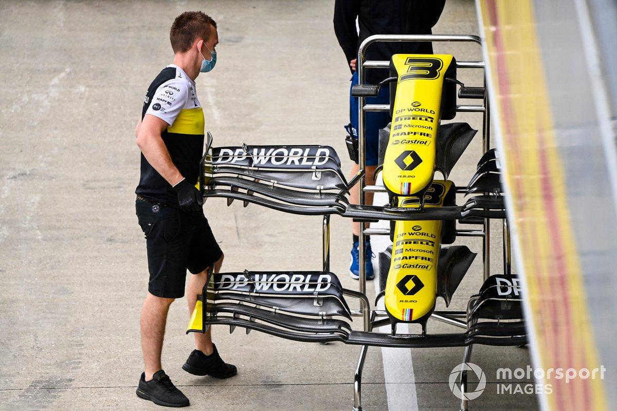 El ala delantera del monoplaza de Daniel Ricciardo, Renault F1 Team R.S.20