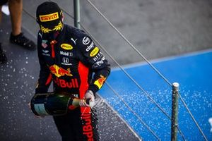 Max Verstappen, Red Bull Racing, 2nd position, sprays Champagne