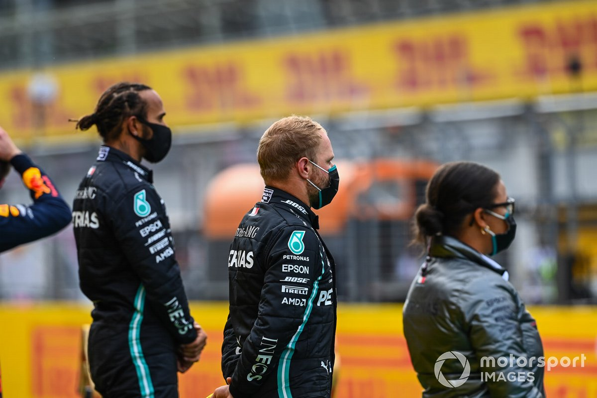 Lewis Hamilton, Mercedes-AMG Petronas F1 and Valtteri Bottas, Mercedes-AMG Petronas F1 on the podium