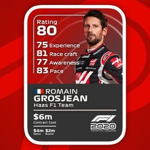 F1 2020 drivecards: Romain Grosjean