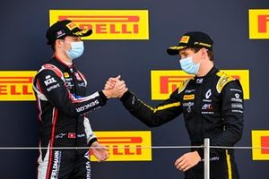 Louis Deletraz, Charouz Racing System and Christian Lundgaard, ART Grand Prix celebrate on the podium