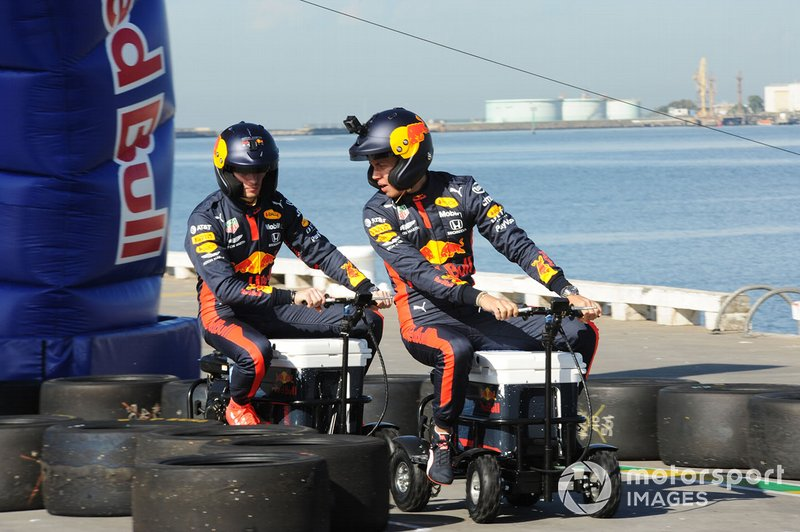Alex Albon, Red Bull Racing and Max Verstappen, Red Bull Racing at a Red Bull event Grand Pier in St Kilda