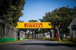 Pirelli branding around the track