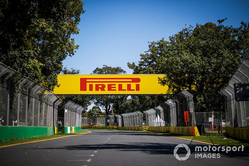 Pirelli branding around the track