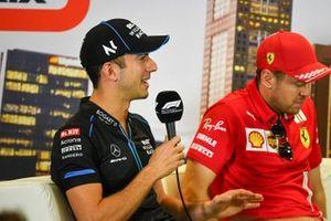 Nicholas Latifi, Williams Racing and Sebastian Vettel, Ferrari, in the press conference