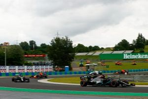 Lewis Hamilton, Mercedes F1 W11, leads Valtteri Bottas, Mercedes F1 W11, and Alex Albon, Red Bull Racing RB16
