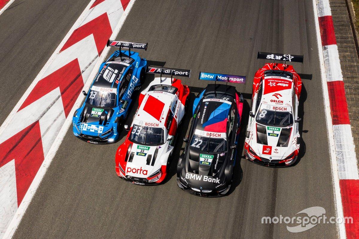 Automóviles de Robert Kubica, Orlen Team ART, BMW M4 DTM, Lucas Auer, BMW Team RMG, BMW M4 DTM, René Rast, Audi Sport Team Rosberg, Audi RS 5 DTM, Fabio Scherer, Audi Sport Team WRT, Audi RS 5 DTM