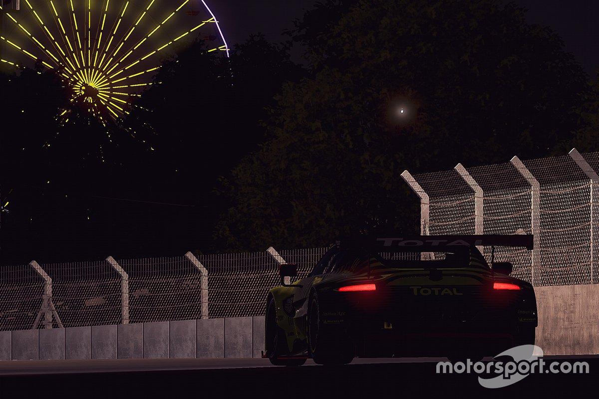 Acción de carrera en la noche