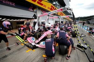 Racing Point mechanics practice their pit stops