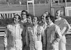 Jack Brabham, Andrea de Adamich, Rolf Stommelen, Peter Gethin, Denny Hulme, Jean Pierre Beltoise and Ronnie Peterson