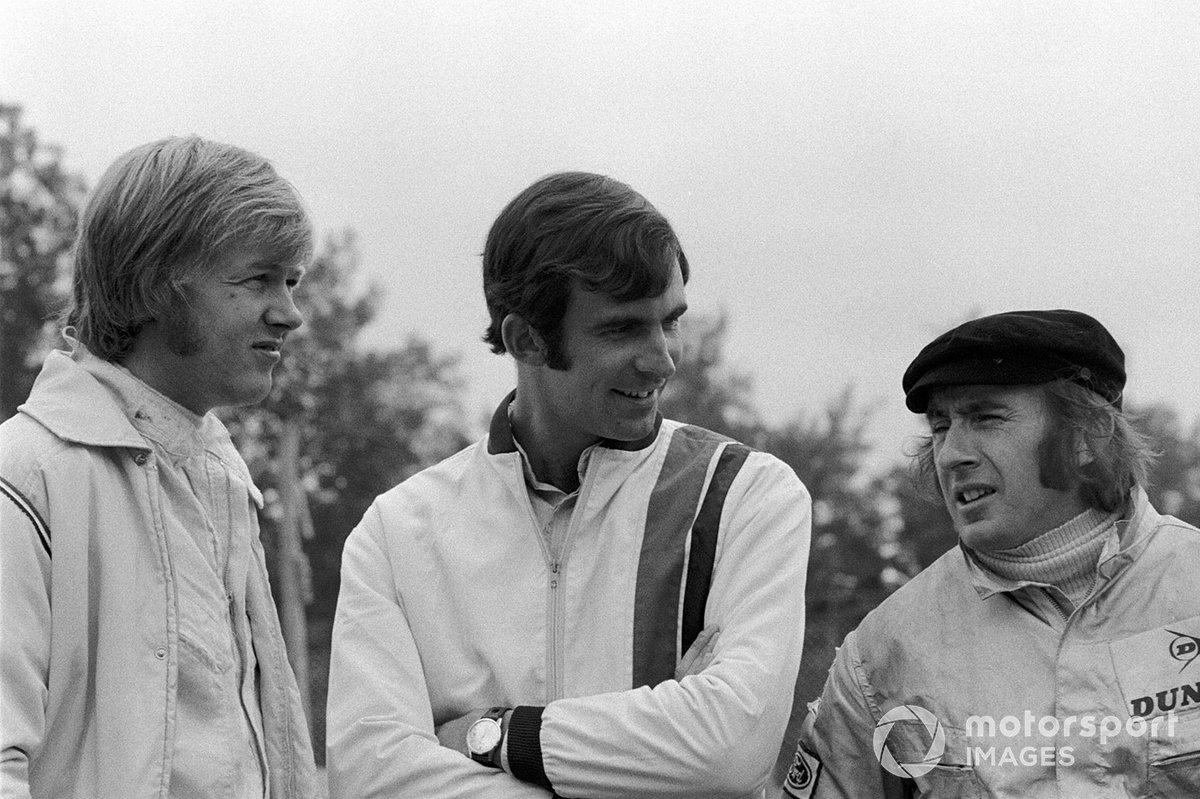 Jackie Stewart, con Tim Schenken, y Ronnie Peterson