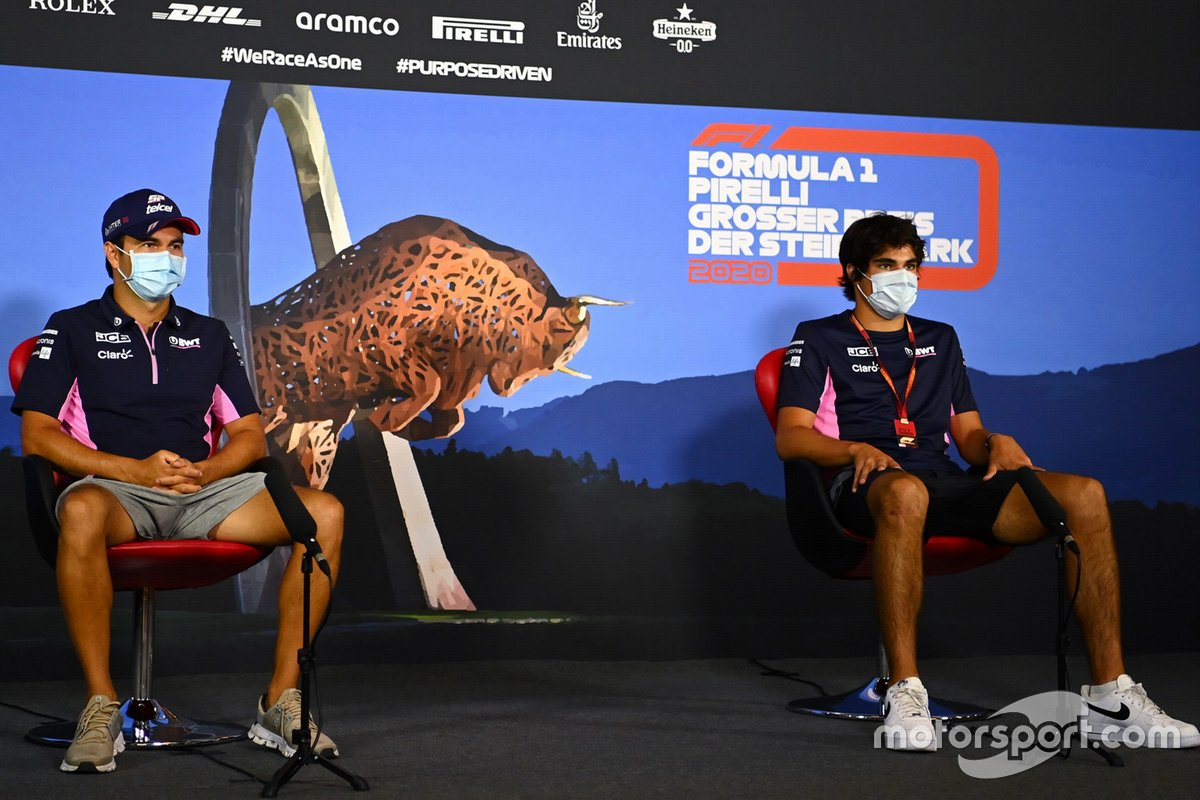 Sergio Perez, Racing Point and Lance Stroll, Racing Point in the press conference
