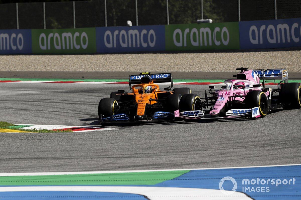 Lando Norris, McLaren MCL35, lotta con Sergio Perez, Racing Point RP20