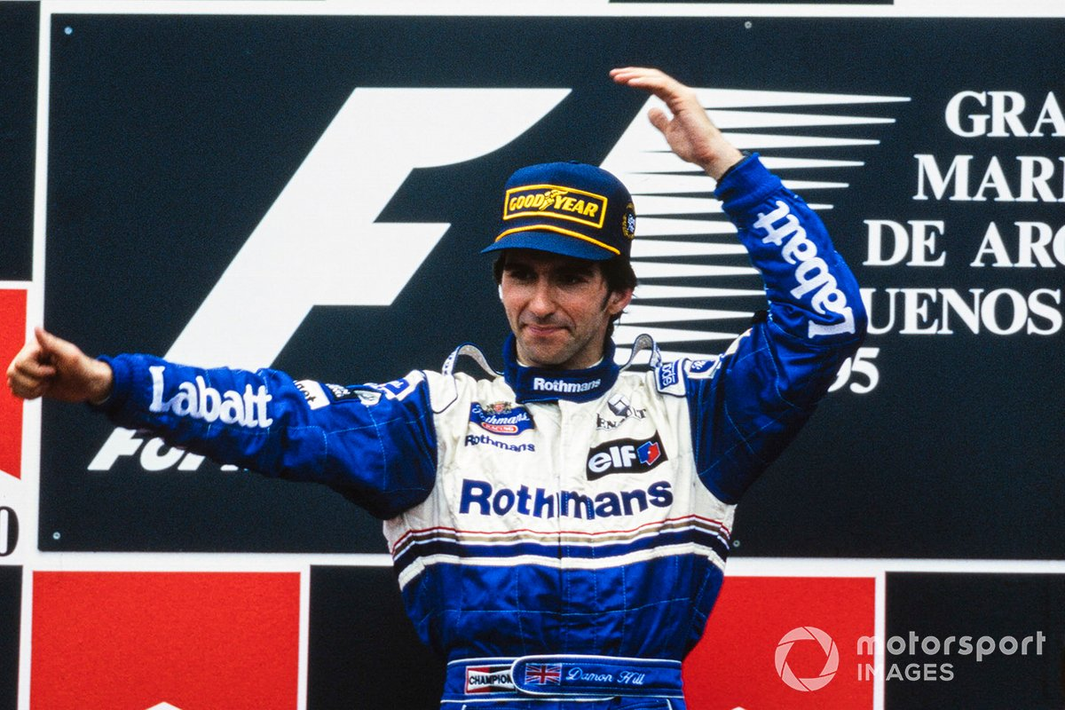Race winner Damon Hill, Williams celebrates on the podium