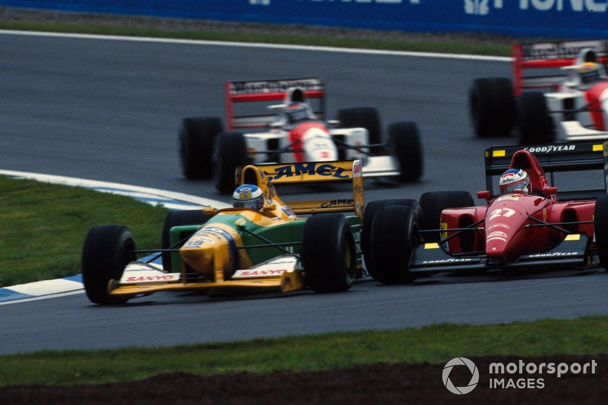 Michael Schumacher, Benetton B192 and Jean Alesi, Ferrari F92A