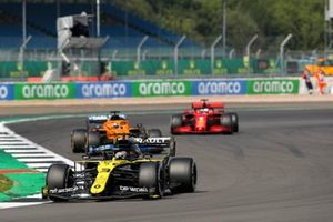 Daniel Ricciardo, Renault F1 Team R.S.20, Carlos Sainz Jr., McLaren MCL35, and Sebastian Vettel, Ferrari SF1000