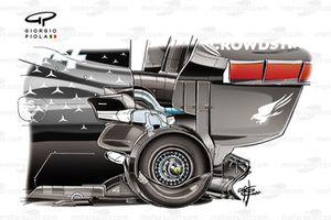 Les freins arrière de la Mercedes W11