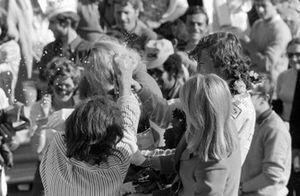 Race winner Jochen Rindt celebrates with champagne