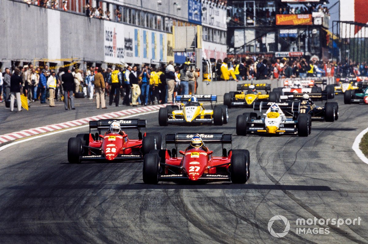 Michele Alboreto, Ferrari 126C4, lidera a René Arnoux, Ferrari 126C4, Keke Rosberg, Williams FW09 Honda, Derek Warwick, Renault RE50, Elio de Angelis, Lotus 95T Renault, y Manfred Winkelhock, ATS D7 BMW, en la salida