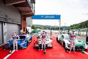Top 3 after Qualifying: Pole sitter René Rast, Audi Sport Team Rosberg, Robin Frijns, Audi Sport Team Abt Sportsline, Nico Müller, Audi Sport Team Abt Sportsline