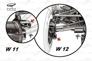 Mercedes AMG F1 W12 brakes duct comparison