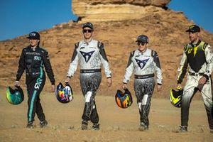 Molly Taylor, Rosberg X Racing, Mattias Ekstrom, ABT CUPRA XE, Claudia Hurtgen, ABT CUPRA XE and Jenson Button, JBXE Extreme-E Team