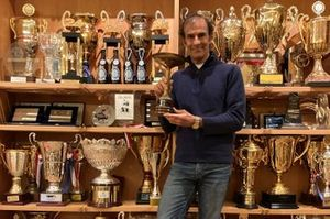 Emanuele Pirro with his first karting trophy