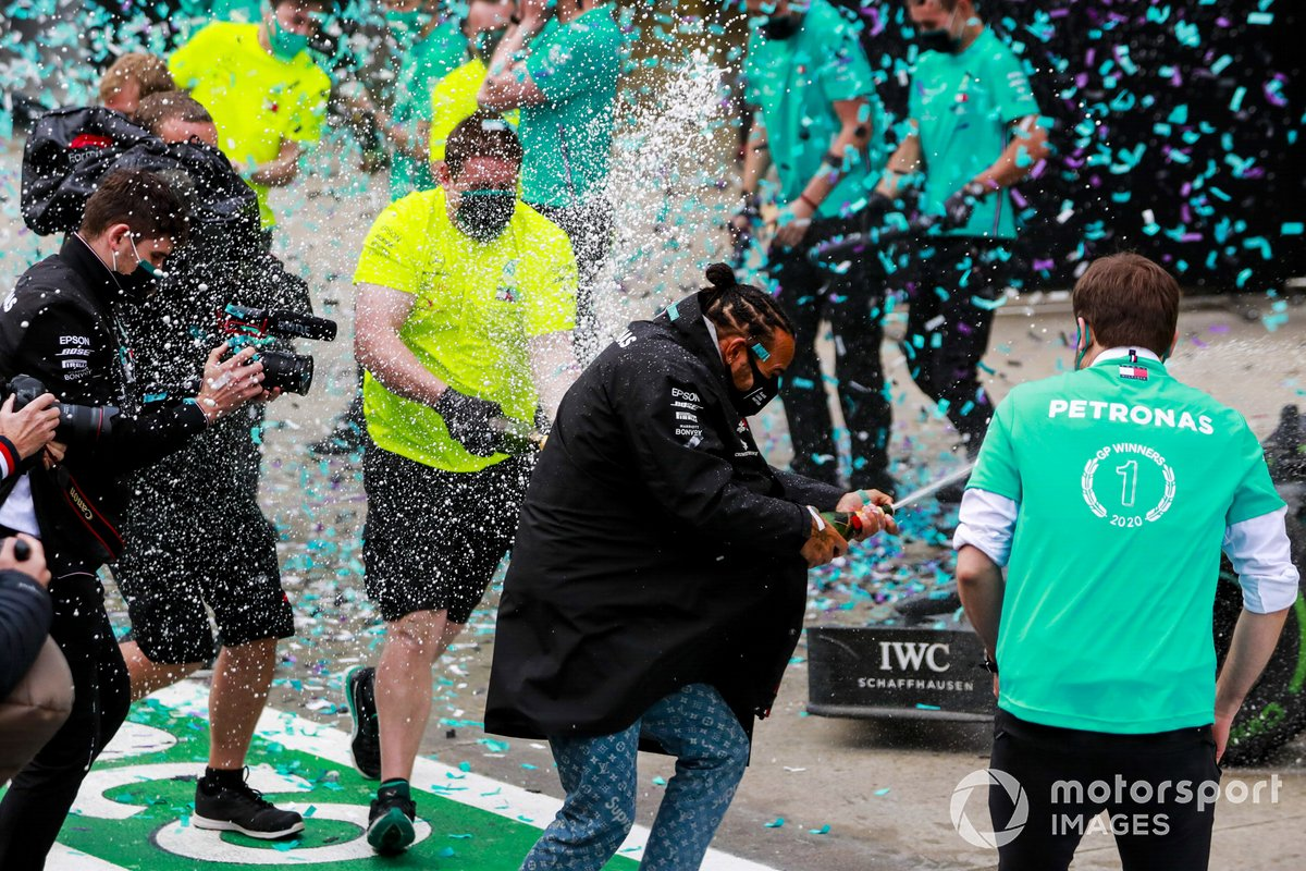 Lewis Hamilton, Mercedes-AMG F1, 1st position, and the Mercedes team celebrate with Champagne after having secured a seventh world drivers championship title