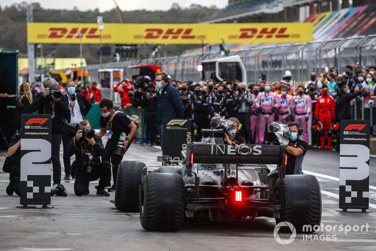 Lewis Hamilton, Mercedes F1 W11, 1st position, arrives in Parc Ferme after securing his seventh drivers title