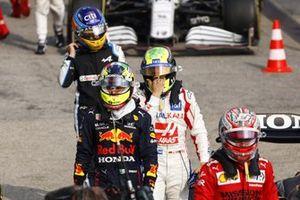 Charles Leclerc, Ferrari, Sergio Perez, Red Bull Racing, Mick Schumacher, Haas F1, and Fernando Alonso, Alpine F1
