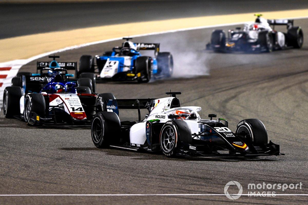 Gianluca Petecof, Campos Racing, precede David Beckmann, Charouz Racing System, Richard Verschoor, MP Motorsport, e Ralph Boschung, Campos Racing