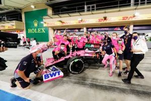 Sergio Perez, Racing Point, 1st position, and the Racing Point team celebrate victory