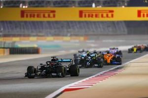 George Russell, Mercedes F1 W11, Valtteri Bottas, Mercedes F1 W11, and Carlos Sainz Jr., McLaren MCL35
