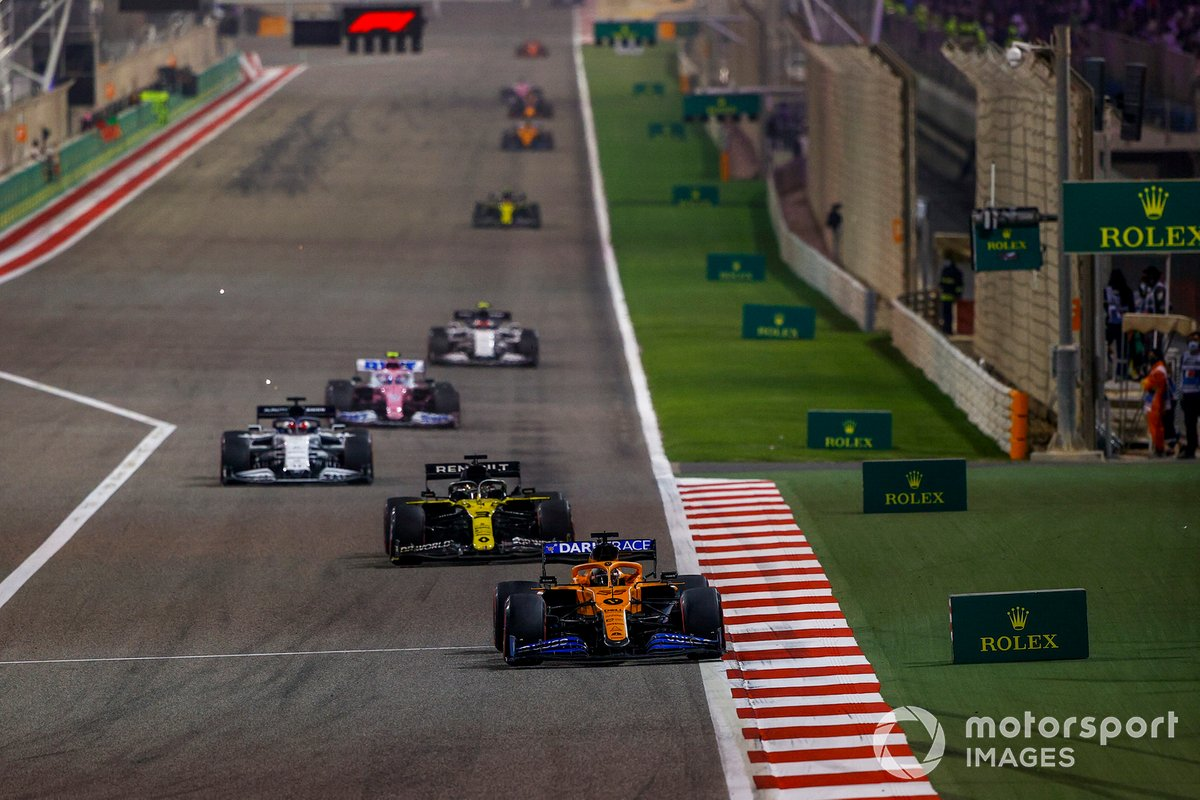 Carlos Sainz Jr., McLaren MCL35, Daniel Ricciardo, Renault F1 Team R.S.20, Daniil Kvyat, AlphaTauri AT01, Lance Stroll, Racing Point RP20, and Pierre Gasly, AlphaTauri AT01