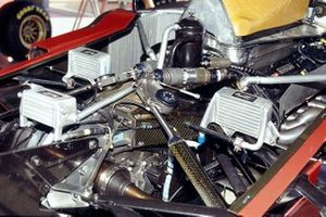 Rear suspension detail of one of the Ferrari 412T2s