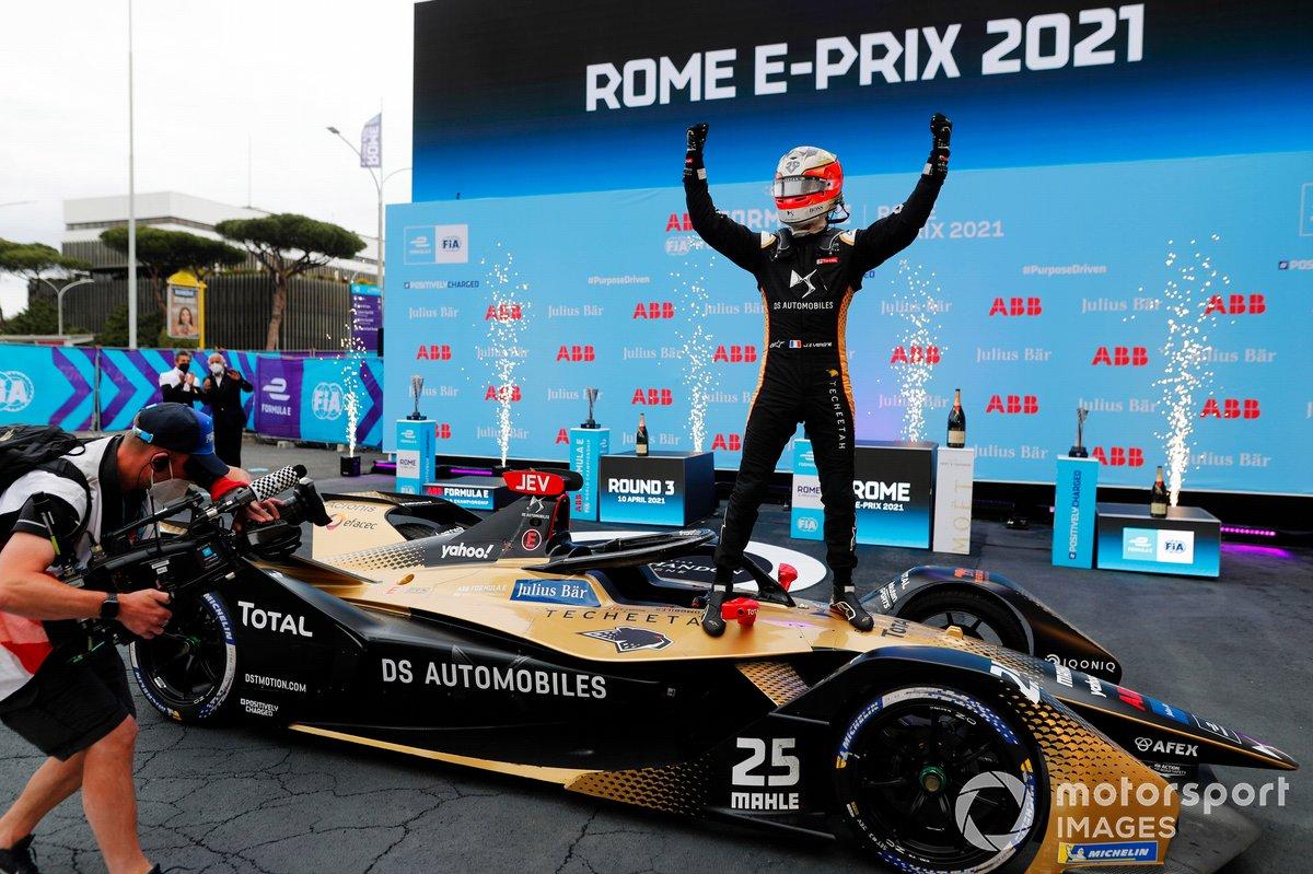 Jean-Eric Vergne, DS Techeetah, DS E-Tense FE21, celebra su victoria