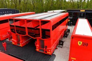The Ferrari motorhome in the paddock