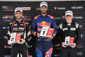 Race winner Shane van Gisbergen, second place Andre Heimgartner, third place Matthew Payne