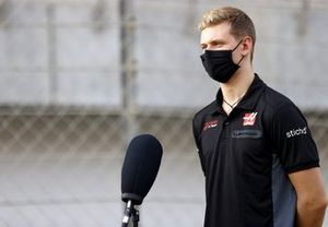 Mick Schumacher speaks to the media on the day he is announced as a Haas F1 driver
