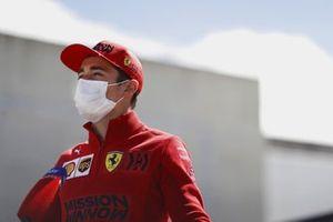 Charles Leclerc, Ferrari, talks to the press