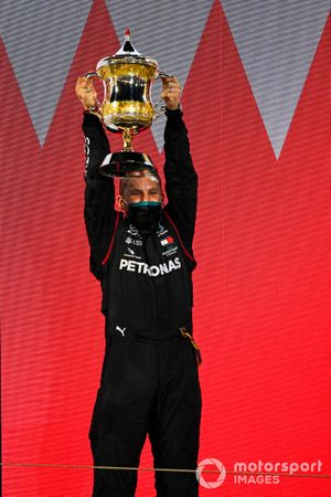 Lewis Hamilton, Mercedes-AMG F1, 1st position, lifts his trophy