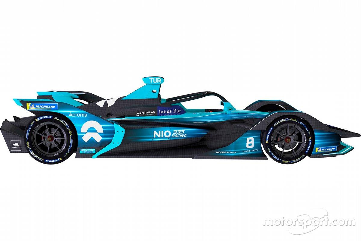La decoración del coche de NIO 333 para la temporada 2021 de Fórmula E